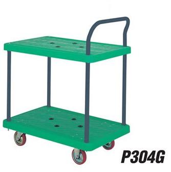 Xe đẩy tay sàn nhựa 300 kgs, 2 tầng P304G